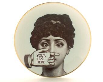 "Personalized Wall Decor, Customized Gift, Altered Art Porcelain Vintage Plate 7.48"", Lina Cavalieri, Dishware, Housewarming, Wedding Gift"