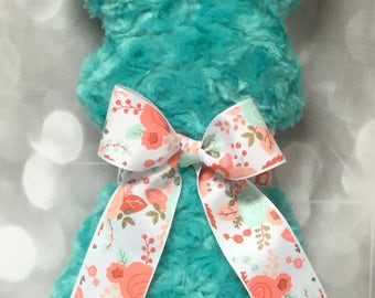 Ready to Ship - (Not Personalized) Turquoise Plush, Simple Silhouette Stuffed Bunny Rabbit