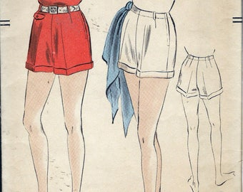 "Vintage 1953 Vogue 7384 Women's Shorts Sewing Pattern Size Waist 26"""