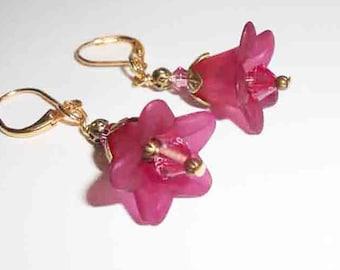 Elegant Flower Earrings, Woodland Flower Earrings,  Dangle Earrings, Whimiscal Earrings, Beaded Earrings and Jewelry