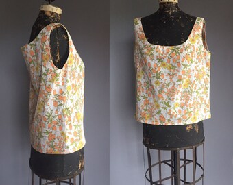 1960s Floral Summer Tank Top Cropped Blouse - 60s Oversized Flower Shirt - M L