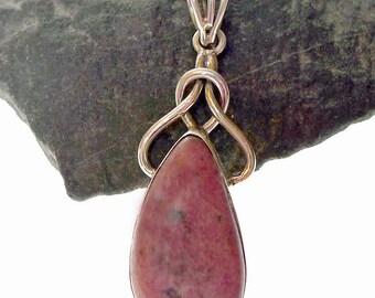 Celtic Rhodonite Pendant, Unique Sterling Silver Celtic Jewelry, Large Rhodonite Pendant- Dispel Worry and Achieve Potential - GSP333