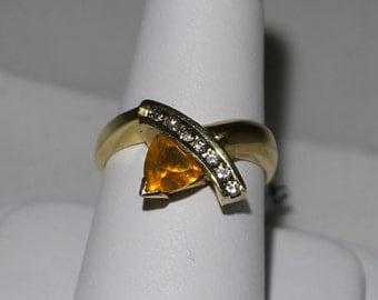 14K Yellow Gold Diamond and Oregon Opal Ring