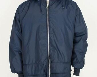 Vintage Huskies Windbreaker Parka Rain Coat size XL