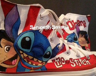 Disney Lilo Stitch Custom Painted Shoes Toms Vans Converse Ohana w/ free lettering or quotes.  Men, women, children's sizes available