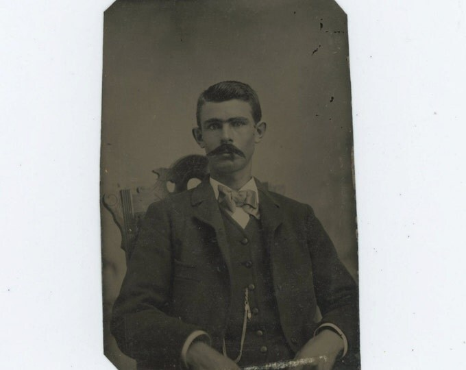 Tintype 1/6 Plate Antique Portrait Photo: Young Man w/ Mustache, 1800s (611518)