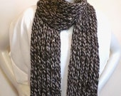 Hand Knit Brown & Tan Scarf - Bulky Wool Blend Man's Scarf, Fisherman's Rib Design, Handmade in the USA