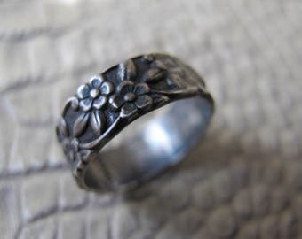 """Antique Sterling Silver Flower Eternity Band. 4 1/4 Size.Sterling Silver Ring Band. Antique Victorian Revival Silver. Signed """"Sterling"""" Band"""