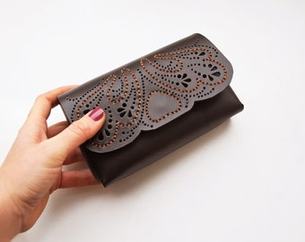 Leather lace box clutch, Luxurious chocolate brown clutch