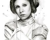 Princess Leia Art Print Leia Wall Art Portrait Watercolor Carrie Fisher Print Princess Leia Painting Leia Princess Sci-Fi Art Geek Art
