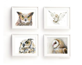 Owl Art Prints Owl Watercolor Wall Art Owl Painting Great Horned Owl Barn Owl Home Decor Illustrations Set for 4 Giclee Prints