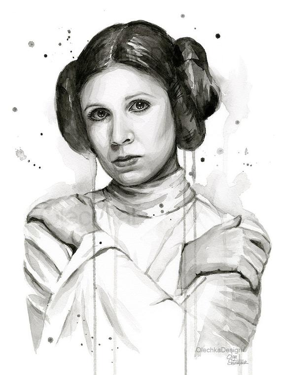 Princess Leia Art Print, Princess Leia Watercolor, Carrie Fisher Portrait, Princess Leia Painting, Leia Princess, Sci-Fi Art, Geek Art