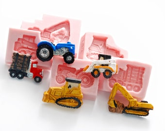 Tractor, Bulldozer, Skid Steer, Truck and Excavator silicone molds for fondant, candy melts, resin, polymer clays, wax - moulds (233)
