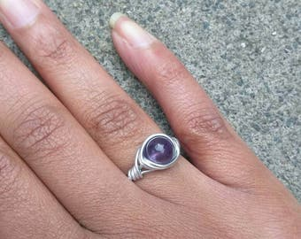 Gemstone Amethyst ring, Boho ring, Hippiestyle, Wire ring