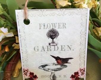 Garden Bird Flower Tag