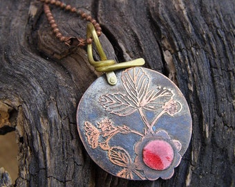 etched and enameled copper wild strawberry necklace (FREE SHIPPING)