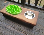 Interactive Dog Feeder - Thick Poplar Wood Elevated Slow Feeder Stand- Personalized Rustic Elevated Feeder- Best Dog Gift