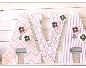 Pink and Grey nursery. Pink and Gray. Wood Nursery Letters. Pink and Grey. Damask. Chevron. Girls Nursery Letters. Vintage Chic. Letters.