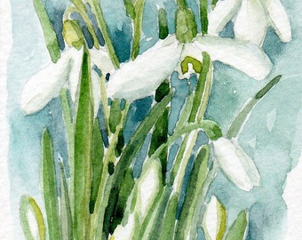 Snowdrops, Galanthus, Aceo, original watercolour painting