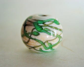 Focal Lampwork Bead ~  Ivory and Transparent Teal Swirl Round