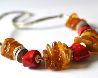 Amber Jewelry, Natural Amber Necklace, Amber Coral Gray Shell, Amber, Baltic Amber