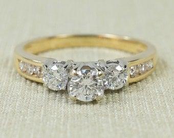 Charming Lovely 14K Yellow Gold 0.90ctw Three Stone Round Diamond Past Present Future Engagement Wedding Anniversary Ring Size 8.5 2016-6788
