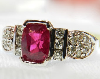 Ruby Ring 18K Gold 1.15 Ct Burma Ruby Engagement Ring Natural Ruby Ring Genuine Diamond Ring July Birthday Gift for Women