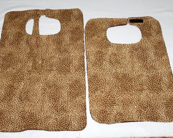 Adult Bibs/Clothing Protectors - 2 Styles to Choose From - Reversible - Terry Cloth/Cotton - Unisex Adult Bib -  Leopard Print Brown
