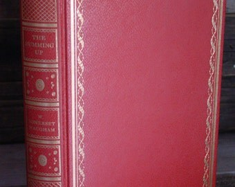 The Summing Up By W Somerset Maugham  Red & Gilt Leatherette 1960s Vintage Hardcover Books Modern Classics British Literature Decorative