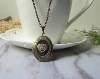 Lovely Heart Oval  Necklace Brass Locket Pendant Necklace Handmade 0319