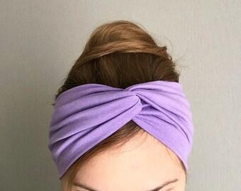 twist headband turban lavender lilac jersey knit head wrap purple turband head band summer hair accessory boho trendy sassy light