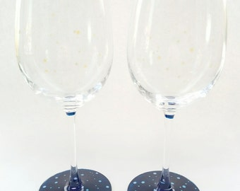 Hand Painted Wine Glass Set - Constellations - Two 19.9 oz Wine Glasses Painted With Iridescent Dots on a Blue Base