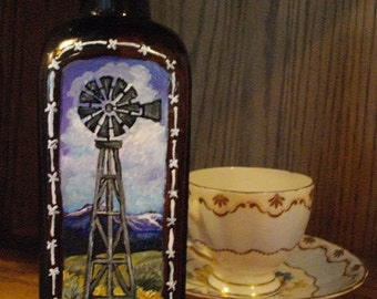 OLD WINDMILL - Painted Antique BOTTLE