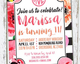 Floral Watercolor Birthday Invite