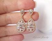 Gold bridal earrings, Gold crystal drop wedding earrings, cz earrings, gold cubic zirconia teardrop earrings bridesmaid earrings cz earrings