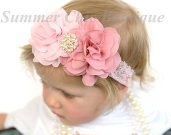 Baby Headband, Infant Headband, Toddler Headband, Light Pink Headband, Mauve Headband, Rose Headband, Light Pink and Dusty Rose Headband