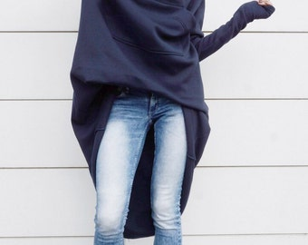 Navy Extravarant Maxi Asymmetric Hoodie / Fleece Cotton Warm  Top A08023