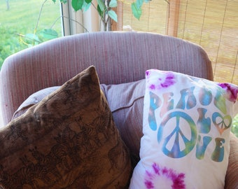 Peace and love hippie tie dye pillow, hippie pillow, tie dye pillow, tie dye, peace and love, hippie home decor, boho home decor