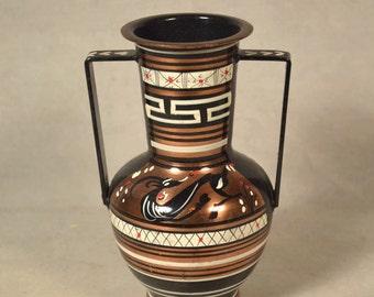 Metal Greek Urn Copper Vase Greece Souvenir Hand Painted