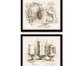 Vintage Bee Hives Print Set No. 5, Sepia Illustration, Bee Bees Bee Hive, Collage, Beekeeping Print, Giclee, Art, Print Set, Bee Prints