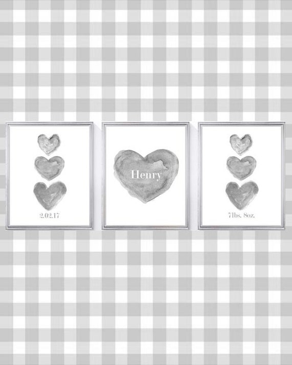 Gray Baby Nursery Print Set, Set of 3- 8x10 Personalized Prints with Name, Birthday and Weight