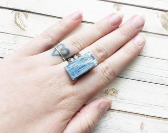 Raw Blue Kyanite Adjustable Ring | Filigree Ring | Kyanite Ring | Blue Kyanite Jewelry | Kyanite Crystal | Raw Crystal Ring | Statement Ring