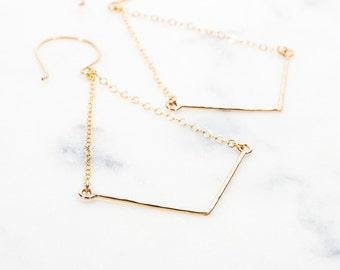Alohilani Earrings - Long Dangle Earrings, Geometric Jewelry, Gold Earrings, Drop Earring, Bohemian Earring, Gold Chevron Earring, V Earring