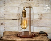 Edison Bell Jar Lamp | Table Lamp | Desk Lamp | Glass Dome | Bell Jar | Night Lamp | Antique Brass