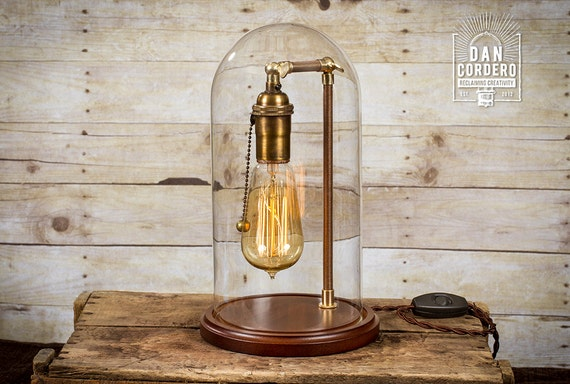 lampe cloche edison lampe de table lampe de bureau d me. Black Bedroom Furniture Sets. Home Design Ideas
