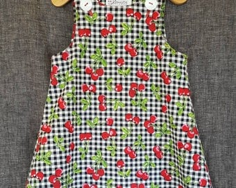 Retro cherry print dress for children / Girls size 18-24 months - Childrens cherry print dress * summertime fruit print clothing for girls