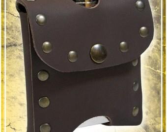 Studded Leather Flask Holder