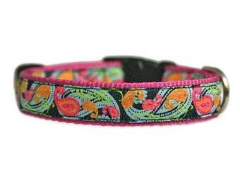 """Paisley Dog Collar 5/8 or 3/4"""" Black, Lime, Pink and Orange Rose Pink Dog Collar"""