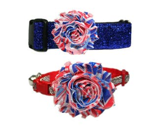 "Patriotic ""BELLA FLOWER"" Dog or Cat Collar Flower Accessory"