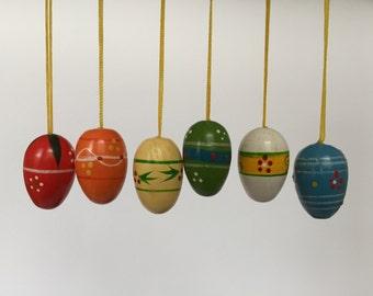 20% OFF Set of 6. Vintage Hand Painted Easter Egg Ornaments. German. 2017_036